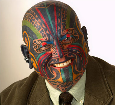 While his full facial tribal tattoo may be more extreme than most tattoos we